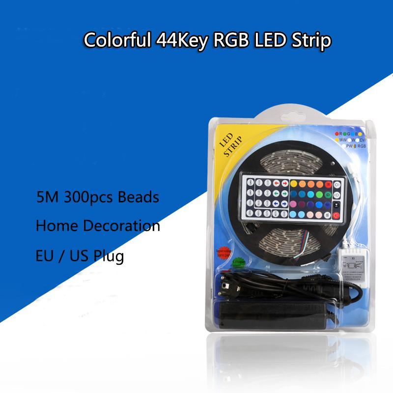 Coloré 5M RVB 5050 SMD 2835 SMD LED IP65 étanche bandes de lumière SMD clé 44 Télécommande IR 12V UE US Full Power Kit