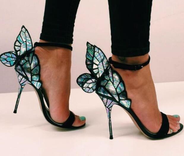 Verão Aberto Toe De Salto Alto Sandálias Asas de Borboleta Stiletto Heels Mulheres Sapatos De Casamento Tornozelo Fivela Mulheres Strap Bombas