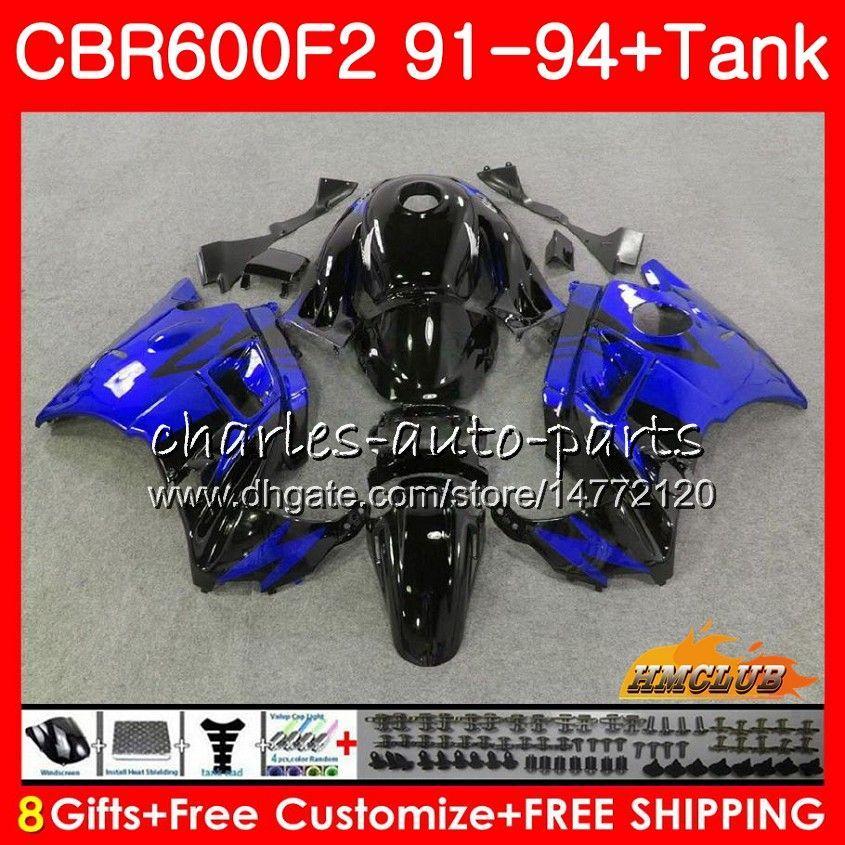 Kit + tanque para HONDA CBR 600cc 600F2 CBR 600 F2 FS 91 92 1991 1992 40NO.55 CBR600FS CBR600 F2 acción de la Blue caliente CBR600F2 93 94 1993 1994 carenados