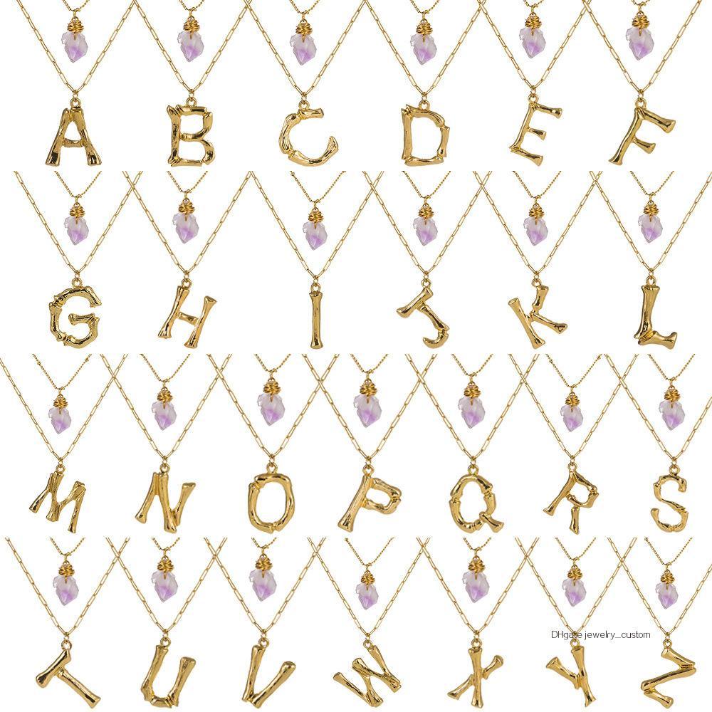 2019 Ornements 26 Lettre anglaise Pendeloque Cut Gris Multicouche Collier Pierre Violet Naturel