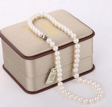 8-9mm Natural White Pearl Necklace 18inch Beaded Necklaces 925 Silver Clasp