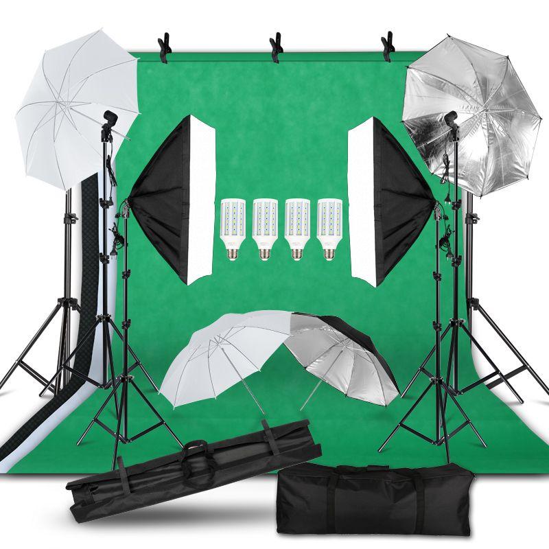 Fotoğraf Fotoğraf Stüdyosu Işık Kiti 2x3M Arkaplan Backdrop softbox Aydınlatma Kiti Şemsiye Işık Standı