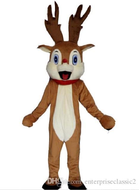 traje de mascote de rena de nariz vermelho para adulto