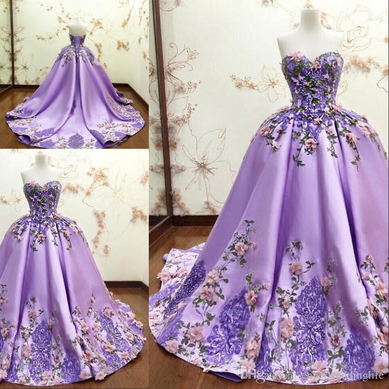 Роскошное светло-фиолетовая бального платье платья Quinceanera 3D-цветочная Аппликация цветок кружево Формального Прома платье Милые рукава длинное платье партии