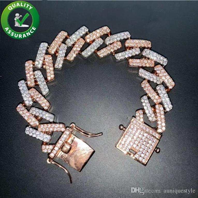 Jewelry Designer di lusso degli uomini 18MM Tennis braccialetto di diamanti bracciali Hip Hop cubana link braccialetto Iced Out Catene Rapper Bling di modo di fascino Boy