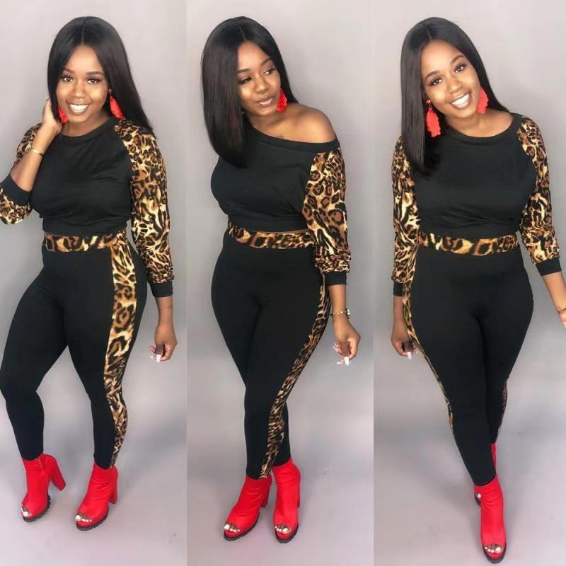 Las mujeres atractivas Ropa deportiva de dos piezas Conjunto Tops de cintura alta Pantalones largos de 2 piezas de mosaico ocasional de leopardo de dos - piezas con traje chándal