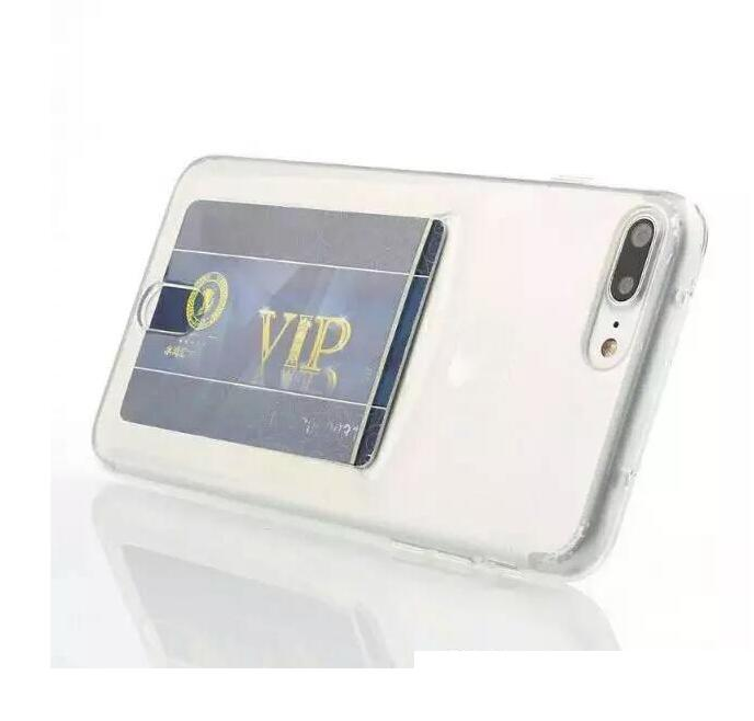 Iphone 11 PRO MAX X XS XR 8 7 PLUS 7plus 6 6S Kimlik Kart Yuvası Yumuşak TPU Kılıf Şeffaf Şeffaf Lastik Cep Telefonu Cilt Arka Kapak Lüks İçin