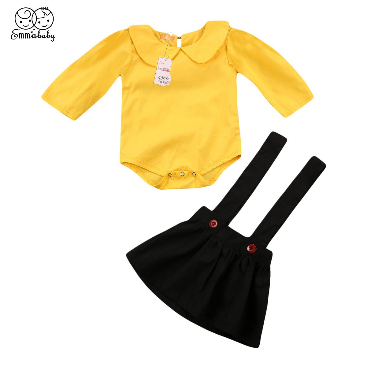 2018 infante recién nacido del bebé lindo de la técnica ropa fijaron los monos de manga larga + faldas liga bebés preciosos trajes conjuntos