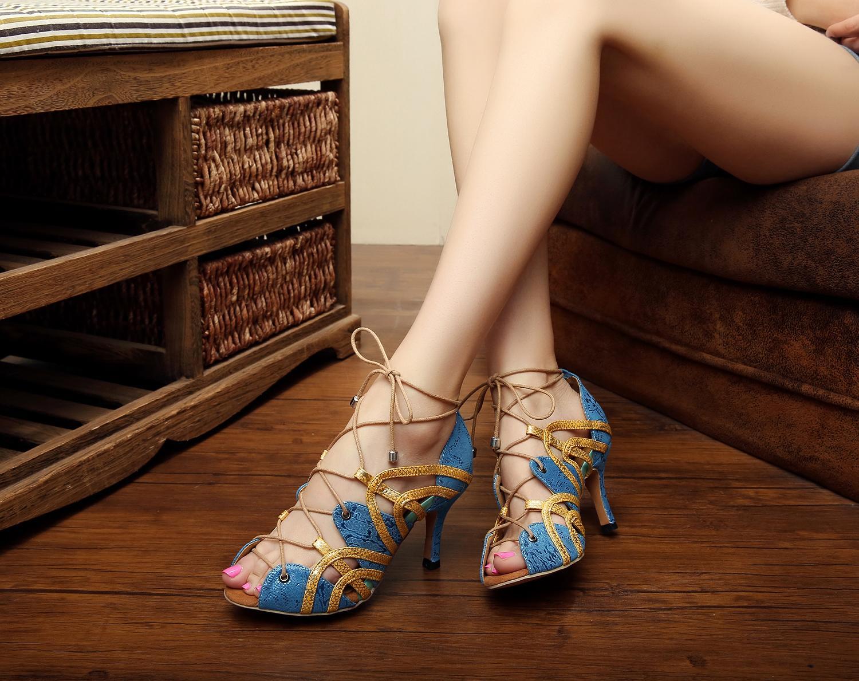 العلامات التجارية جاز الصلصا في الهواء الطلق الرقص اللاتينية أحذية للرقص قطاع المرأة البقرة تسولي الأصفر مع كعوب الأحذية صنادل الصيف