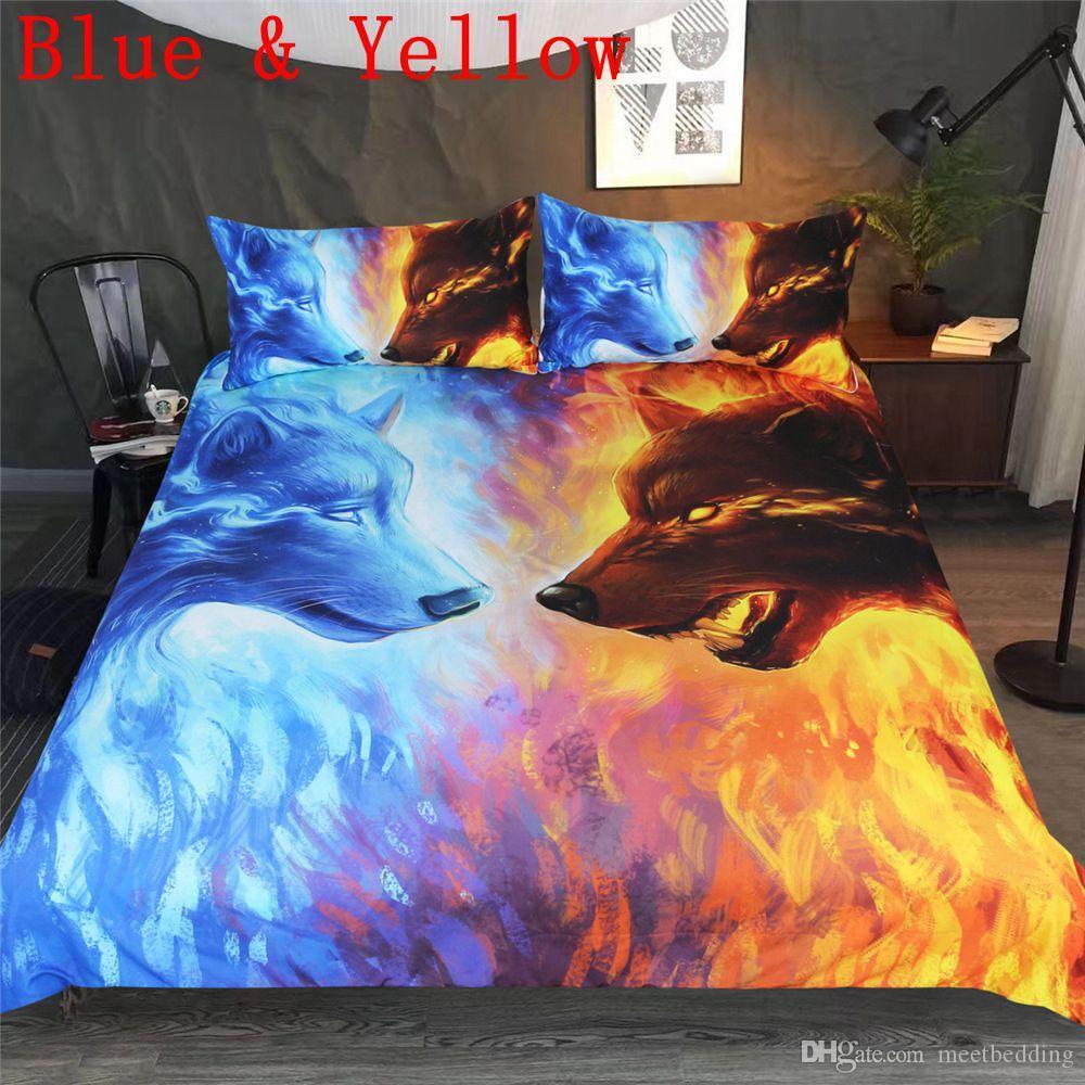 Roupa de cama de lobo conjunto Twin Full Queen Size 2/3 pcs Roupa de cama com animais de Impressão 3d Série água e fogo com roupas de cama de fronha