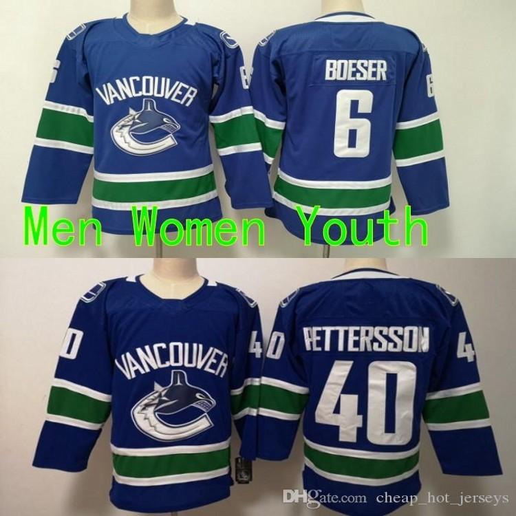 Uomini Donne Giovani Bambini Vancouver Canucks 6 Brock Boeser 40 Elias Pettersto Blue Jerseys All Sticked Hockey Jersey Boy Girls