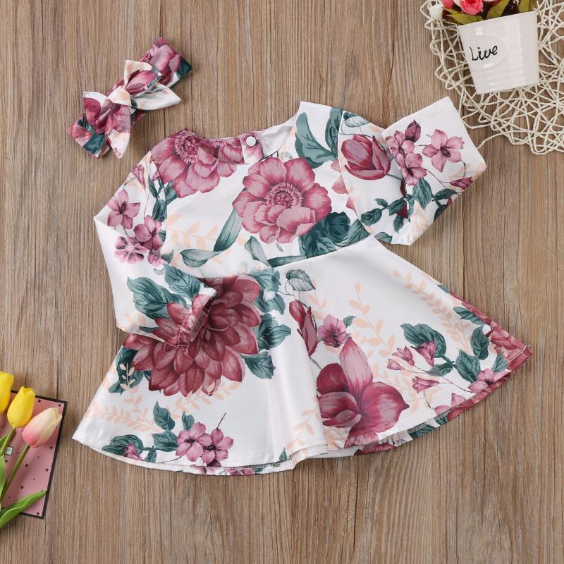 Baby-Kleid 0-24M Neugeborenes Baby Langarm-Blumenkleider 2ST Outfit Kleidung 2020