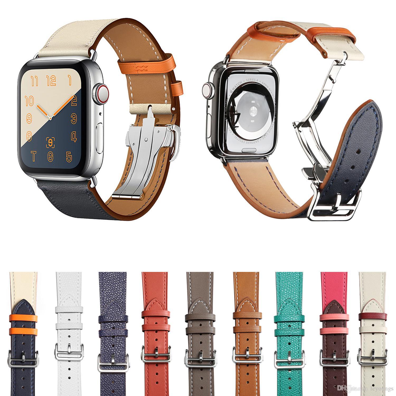 Lüks Katlama Toka Gerçek Deri Kayış İçin Elma İzle 38mm 40mm 42mm 44mm Watchband Apple iWatch Serisi 1 2 3 4 5 Kayış Bilezik Kemer