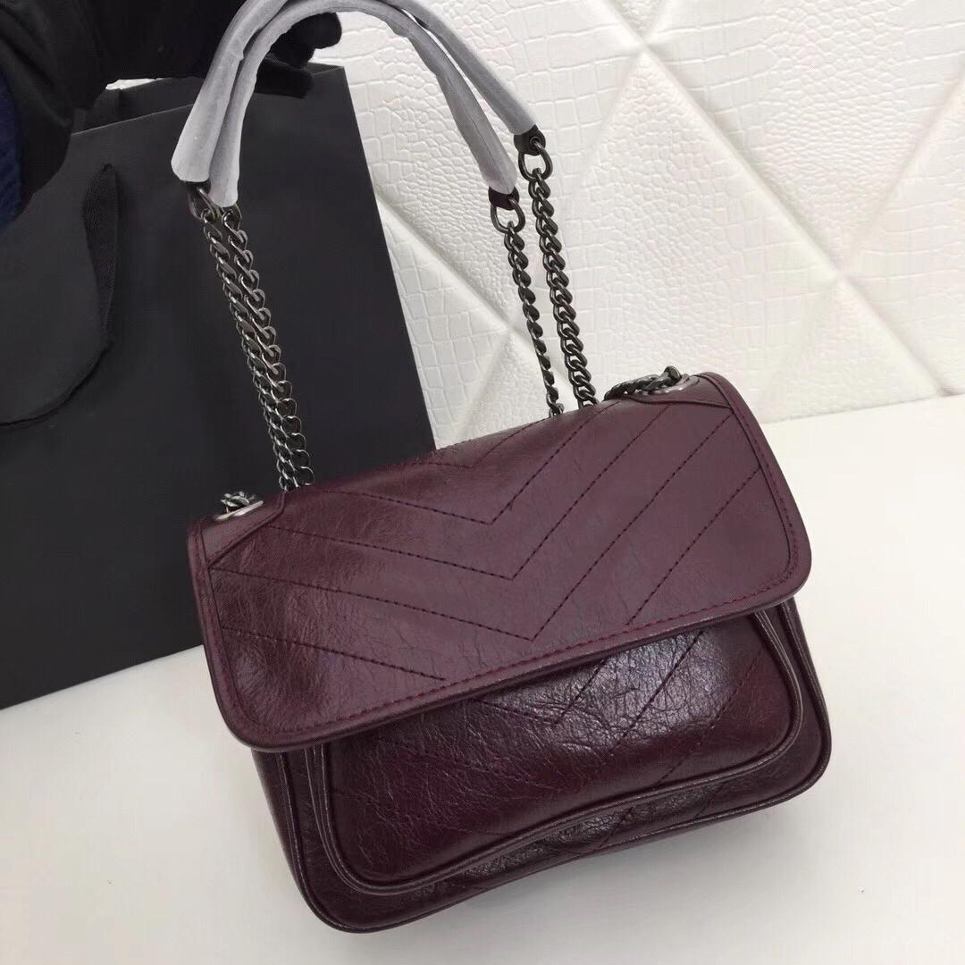 حقائب مجعد خمر الجلود حزام الكتف أزياء المرأة سلسلة حقيبة CROSSBODY رسول حقيبة حقيبة يد محفظة