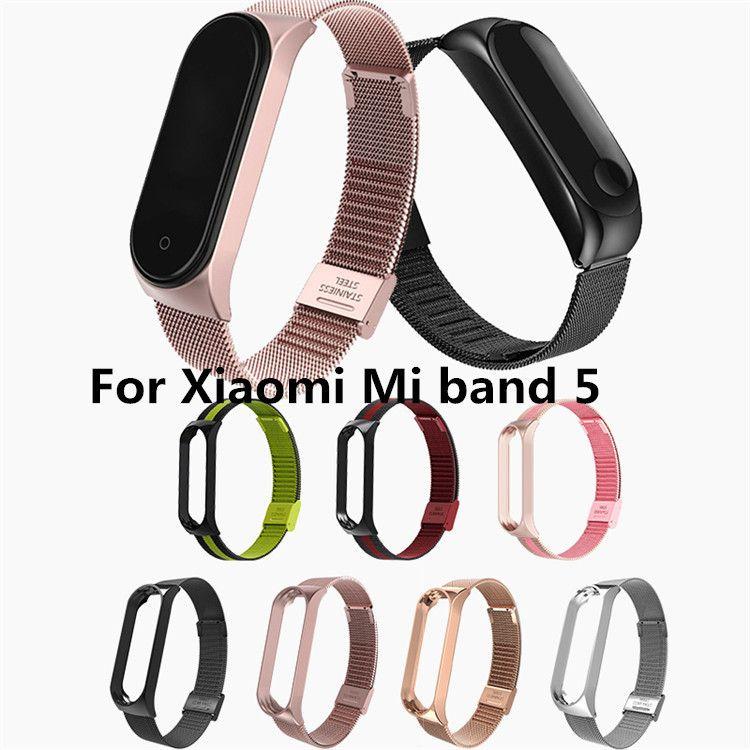 Nueva banda de metal 50pcs Milanese correa de muñeca para Xiaomi MI 5 correa de pulsera para Xiaomi miband 5 inteligente venda de los accesorios al por mayor