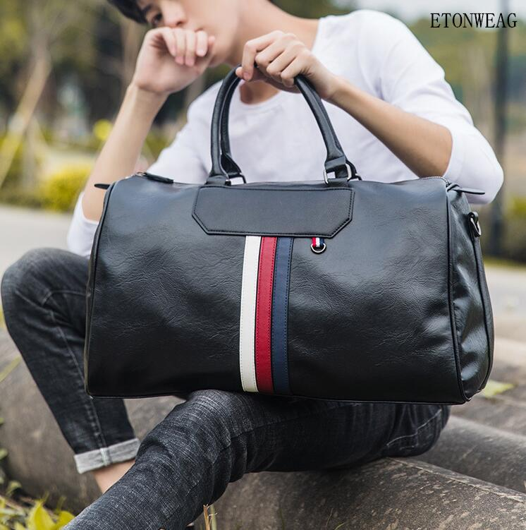 Fabrikgroß Männer Handtasche mit großer Kapazität Reisetaschen Mode gestreiften Ledergeschäft Handtaschen Outdoor-Freizeit-Reise-Fitness-Tasche