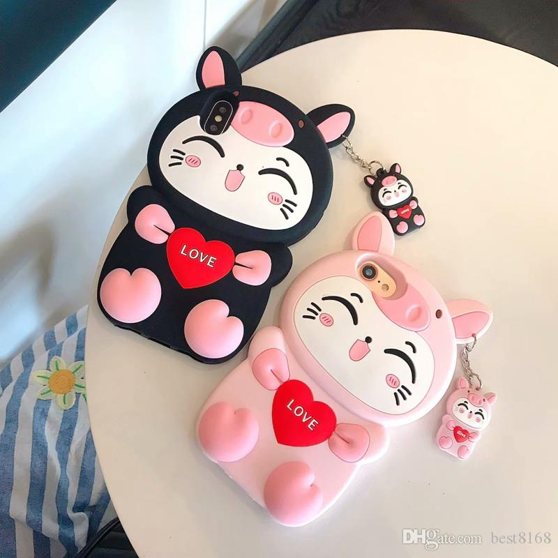 Cute 3D Cat Love Cartoon Soft Case For iphone XR XS MAX X 10 8 Plus 7 6 6S Silicon Gel Coque Heart Pig Animal Lovely Shockproof Phone Cover