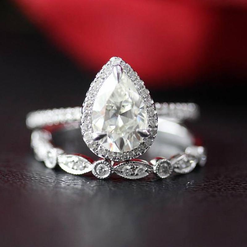 Moissanite Wedding Ring Set Solid 14K White Gold 1.00ct 5x8mm Pear Cut Moissanite Engagement Ring&Wedding Band Anniversary Ring S200110