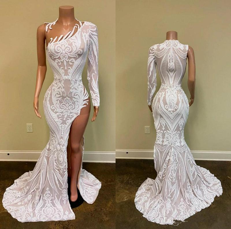 2020 African Black Girls Prom Dresses Jewel Neck Sparkly Sequined High Side Split Mermaid Evening Dress Long Sleeve Formal Gowns