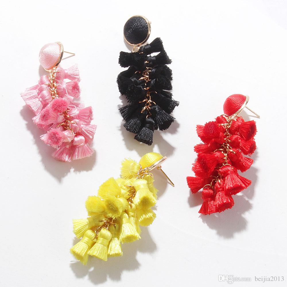 Novos brincos de borla para mulheres étnico grande queda brincos Bohemia na moda corda de algodão franja longa dangle brincos za jóias a1007