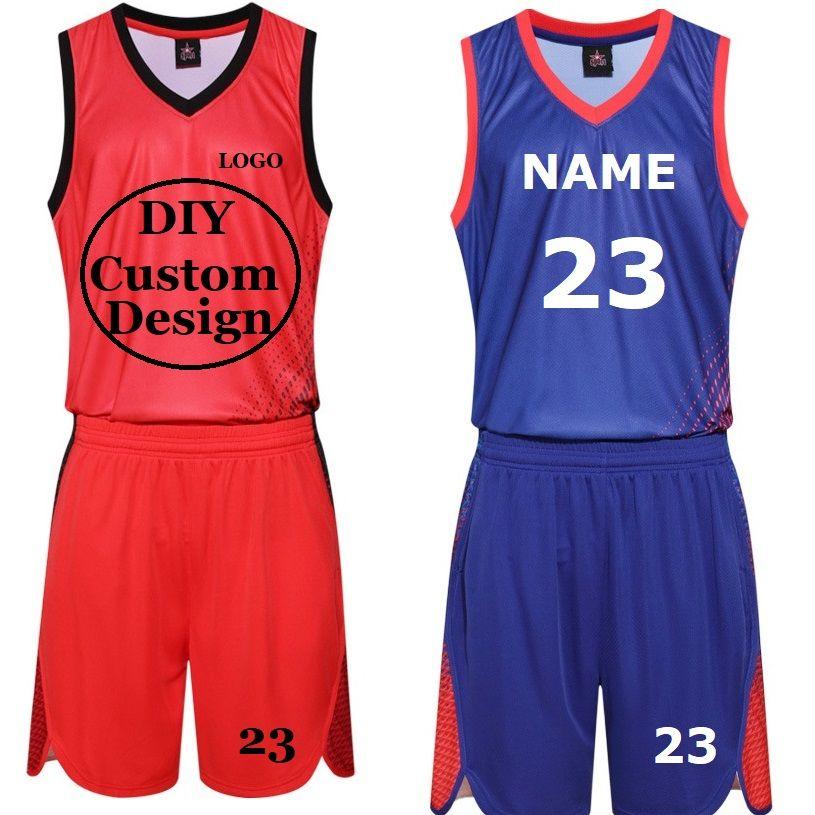 DIY Pirnted Баскетбол Майки набор Униформа Наборы Мужчины Мужчины Женщины Унисейные Рубашки Шорты Костюм Спортивная Одежда Пользовательские Спортивные Осуществование DK2019BS