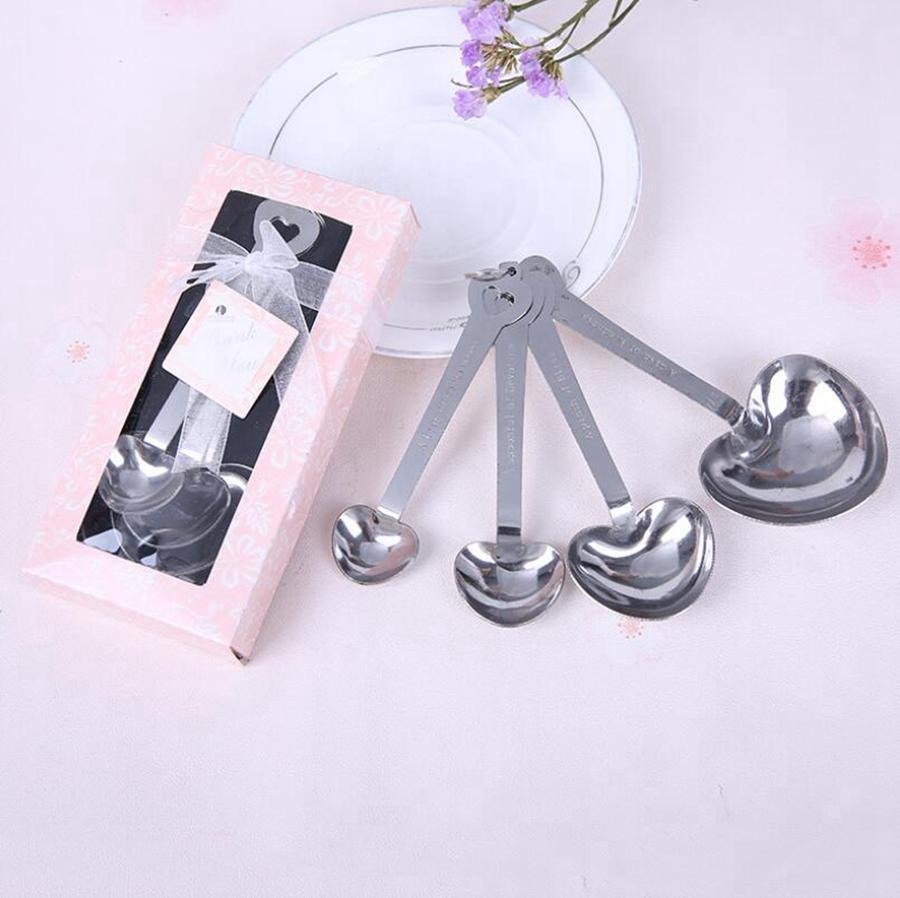 Paslanmaz Çelik Kalp kaşık Takım Wedding Her Hediye Kutusu 300sets / lot RRA2744 İçin AŞK Yeni 4pcs / set Yana Ölçme şekilli