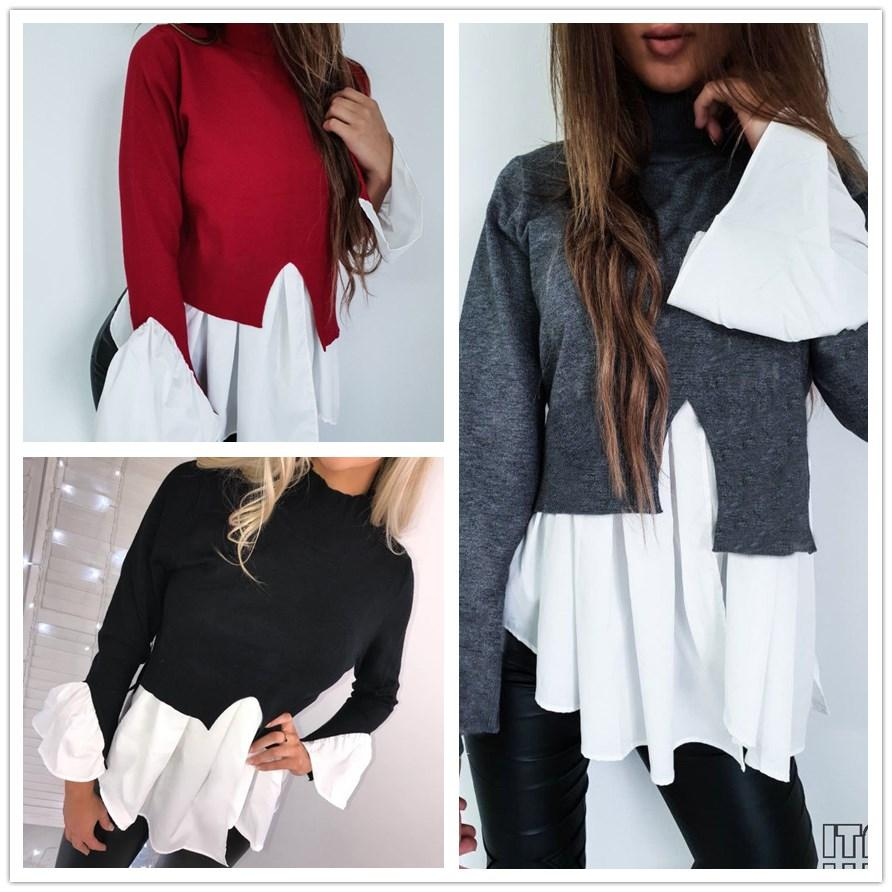 2019 Fashionable Women Loose Long Sleeve Casual Tops Ladies High Collar Patchwork Stylish T-shirt HOT SALE