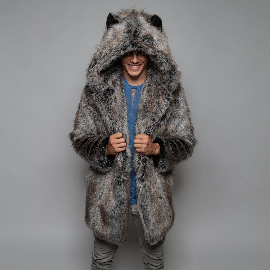 Winter Cardigan Mens Overcoat Warm Thick Faux Fur Coats With Hood Fur Parka Oversized Men Overcoat Warm Faux Jacket Men