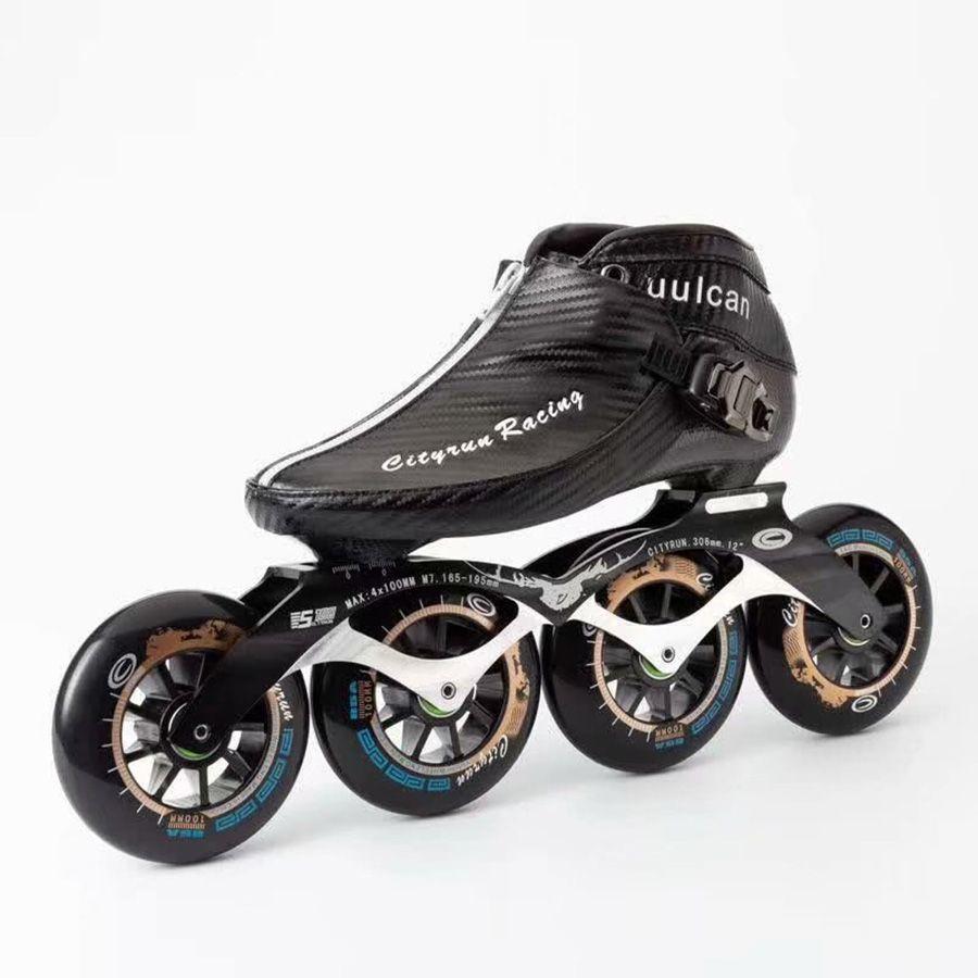 2021 CityRun Speed Skate Inline EUR Tamaño 30-44 Fibra de carbono Concurso Profesional Patines 4 ruedas Racing Patinaje Patines