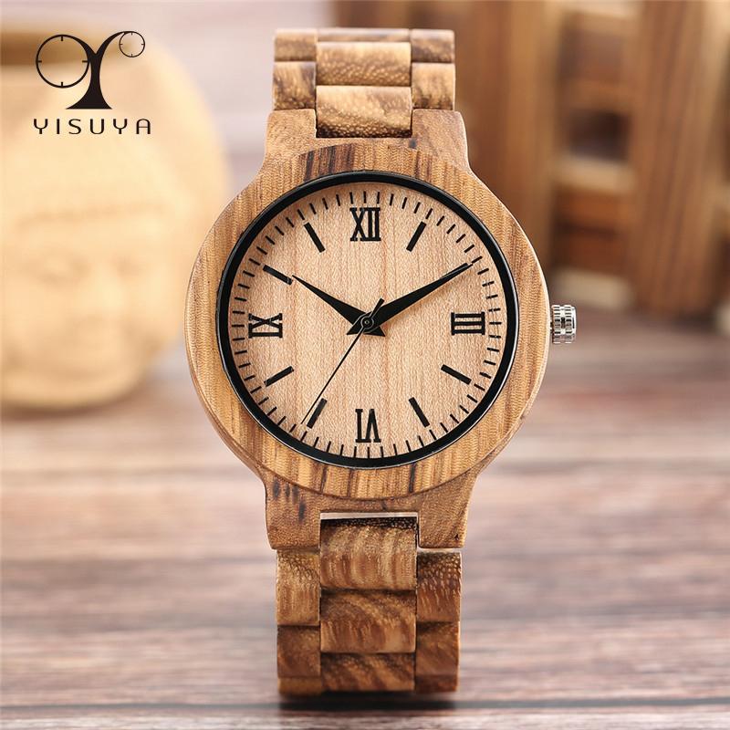 YISUYA minimalista completa de madeira Relógios Mulheres Homens Bamboo Bracelet Madeira Moda Criativa Quartz Relógio de pulso Handmade presente Relógio horas LY191226