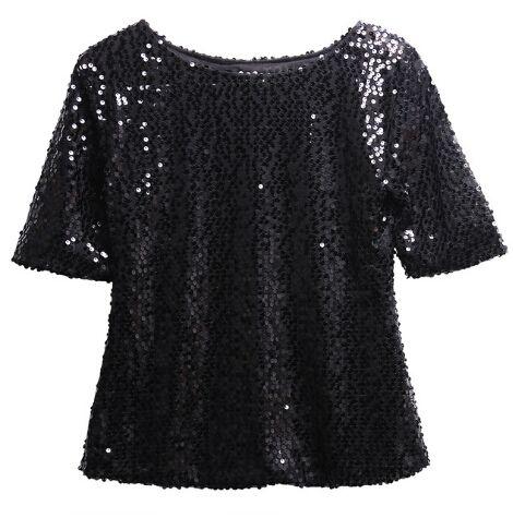 Мода Женщины Лето Свободные Топ Половина Рукава Блеск Блеск Блузка Дамы Случайные Свободные Блестками Пуловер Топы Блузка Черный Щепка