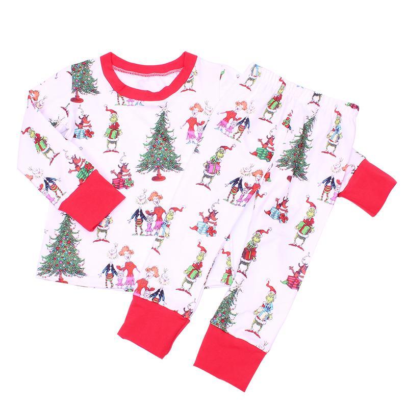 Menina da criança roupas set miúdo meninos PJS crianças Grinch Santa cluas pijamas meninas nightwear Y200328