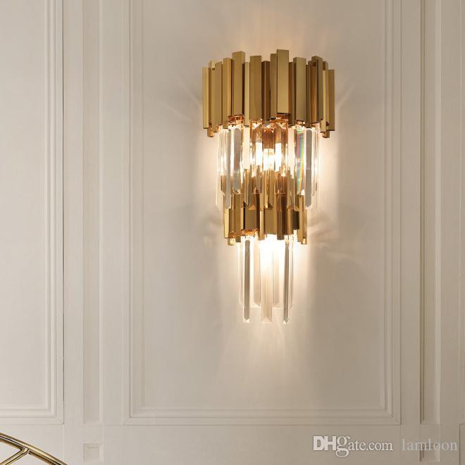 cristal de la pared de lujo de pared lámpara de pared modernos accesorios de iluminación de oro de montaje de la lámpara llevó la luz del aplique de la sala de estar dormitorio de noche pasillo pasillo
