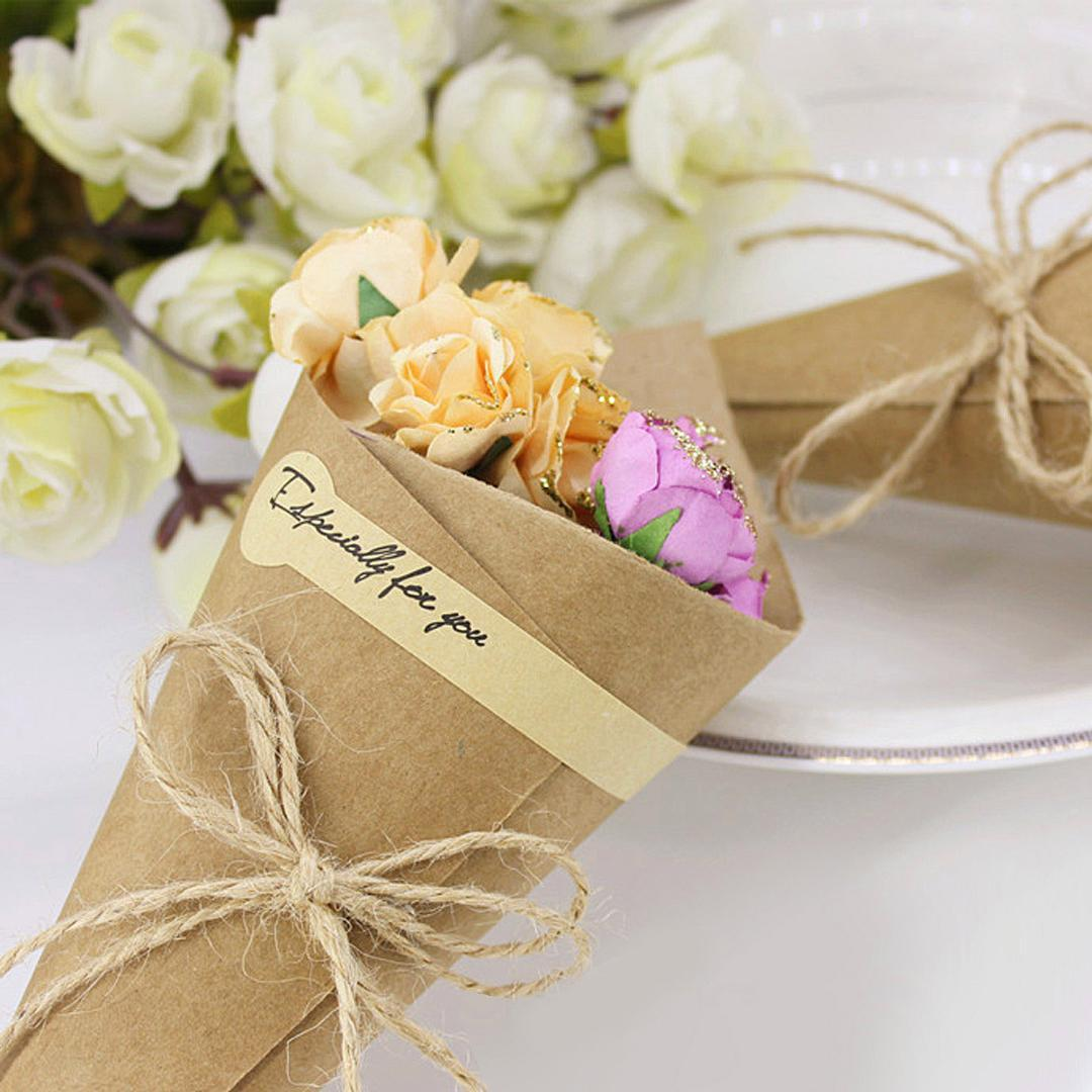 Behogar 100 PCS Retro Kraft Paper Cones Bouquet Candy Bags Boxes Wedding Party Gifts Packing with Ropes Label Stickers Tape