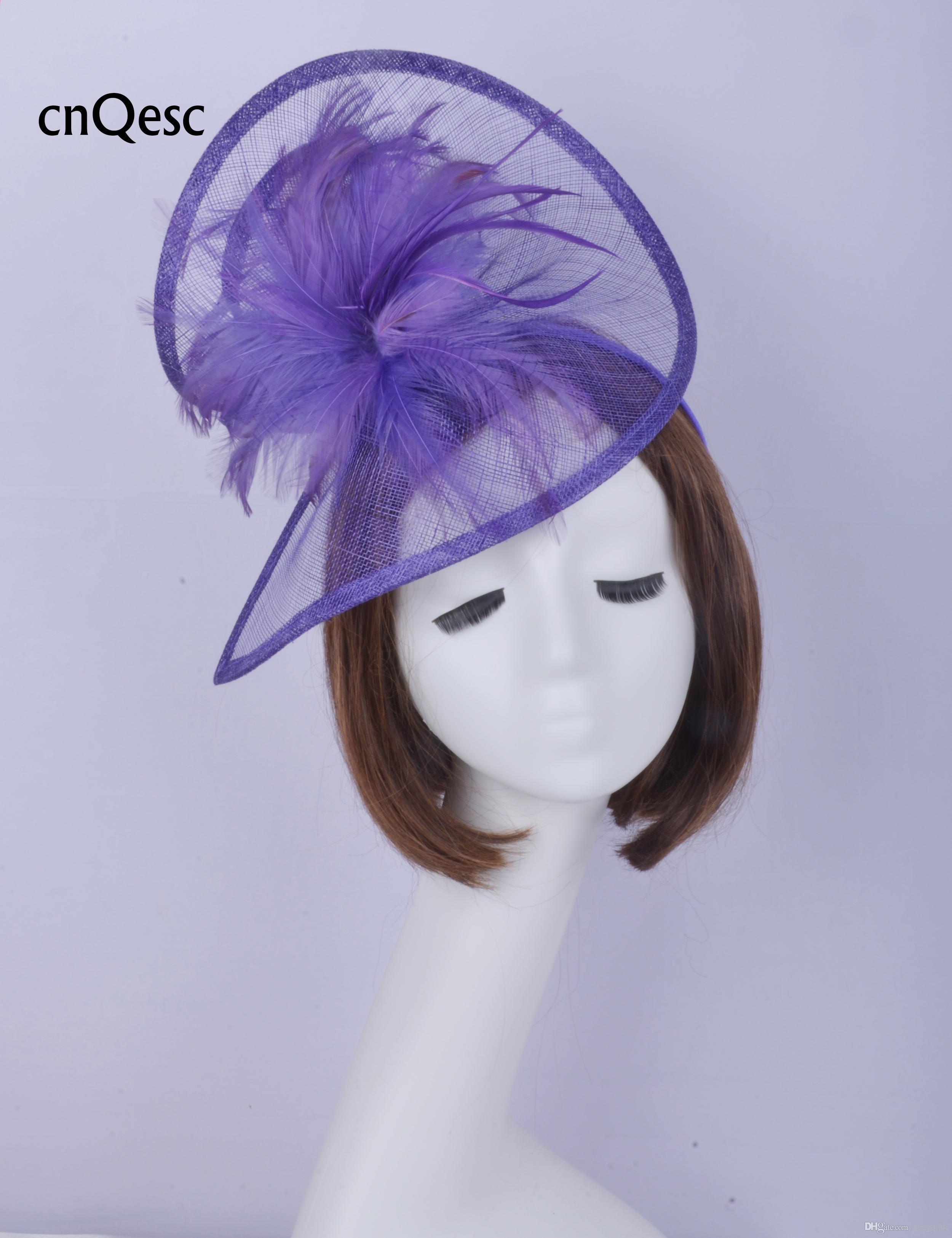 2019 Viola blu sinamay fascinator Accessorio per capelli Copricapo Kentucky Derby gare di nozze doccia nuziale madre della sposa con piume