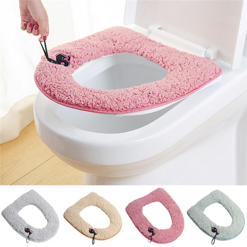 2020 Cute Embroidered Cartoon Thicken Toilet Seat Cover Mat Sticky Button Closestool Lid Coveraccessories Toilet Soft Cushion From Twonecessities 1 72 Dhgate Com