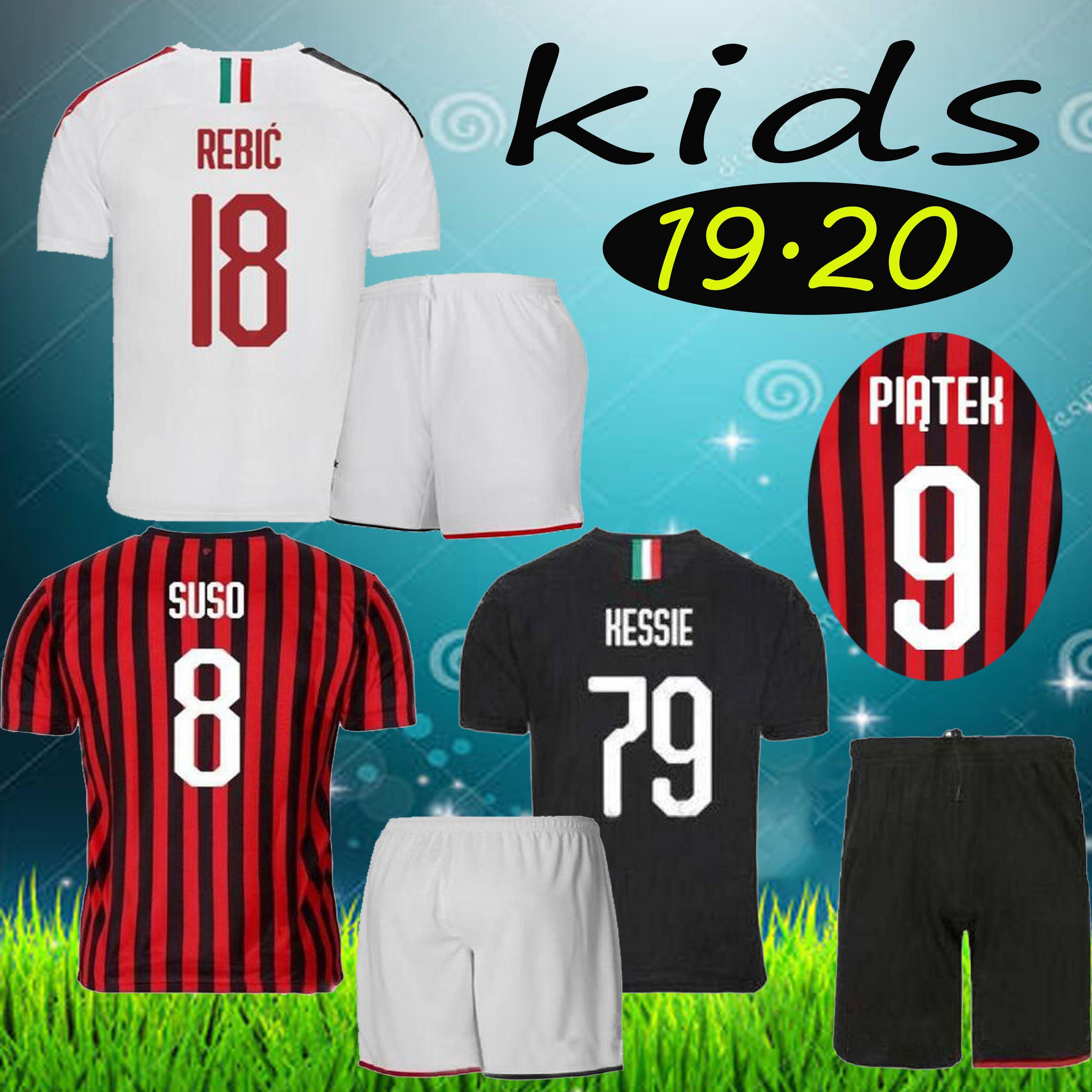 19//20 Season Football Kids Home Kit Jersey Short Sleeve Sport Outfit+Socks New
