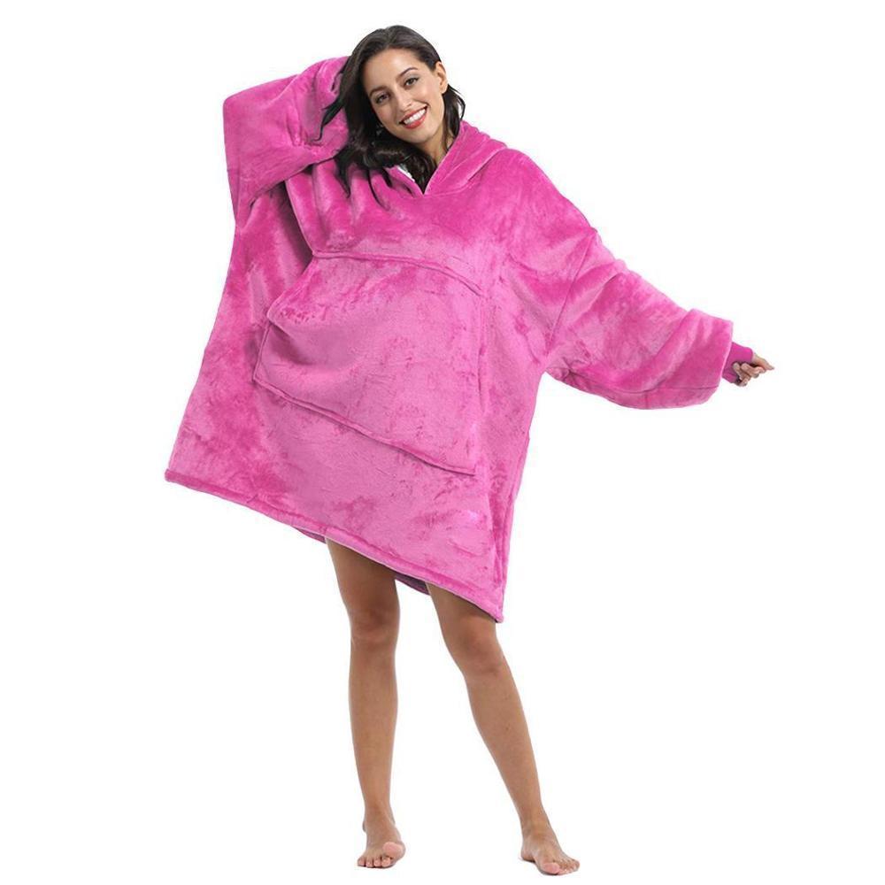Kollu Kadın Büyük Boy Hoodie Fleece Woemen Hoodies Sweatshirt Dev TV Battaniye ile Battaniye Kış Robe Casaco Feminino Y200107 Isınma