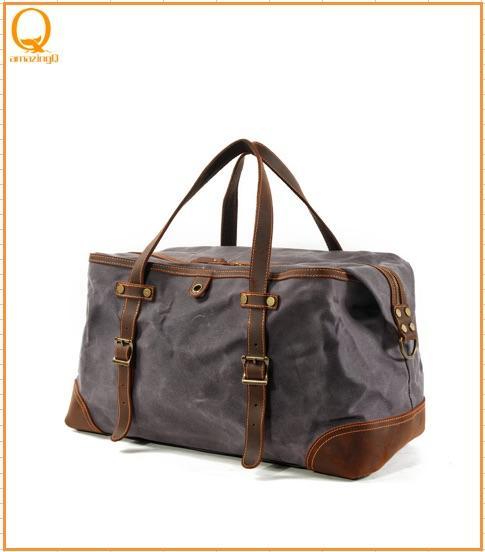 Vintage tela cerata Uomini Duffel di viaggio di grande capienza pelle ingrassata militare Weekend Bag Base Tote Bags Overnight