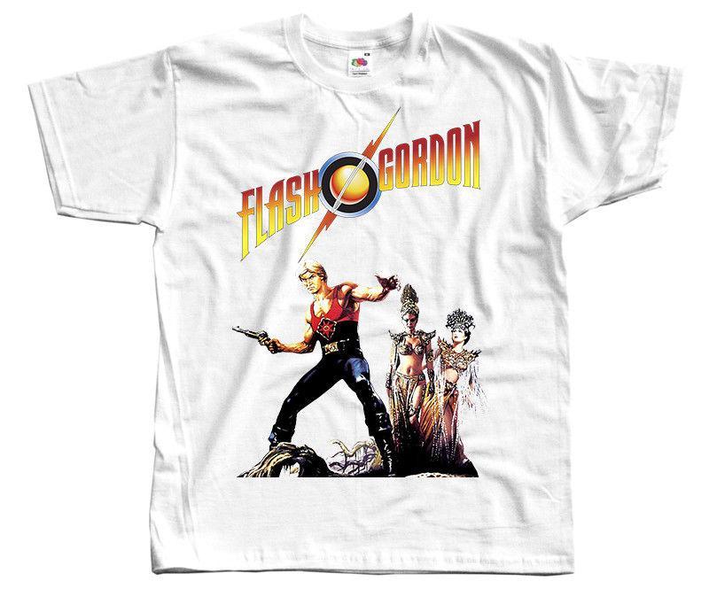 Flash Gordon, Cartel de la película, Camiseta Blanca Todos los tamaños S a 3xl Camiseta Hombre Negro Camiseta de algodón de manga corta Hip Hop Camiseta estampada Shir