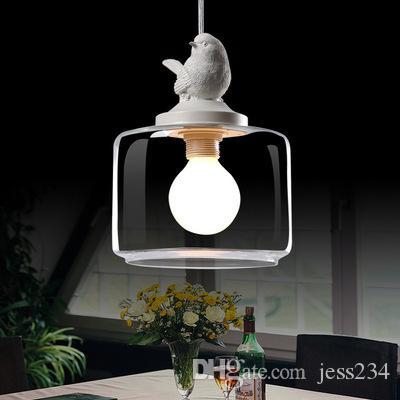 유럽 창조적 인 새 샹들리에 LED는 E27 빛 복고풍 아트 유리 광택 샹들리에를 주도 lchandelier 거실 램프
