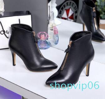 Calientes negros puntiagudos de tacón alto botas de tobillo Venta-blanco cremallera diseñador de zapatos modelo de boda del vestido de las mujeres internacionales