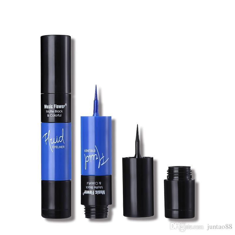 Nouveau doigt manchon Double couleurs liquide Eyeliner mat noir coloré étanche eyeliner durable vente chaude cosmétiques