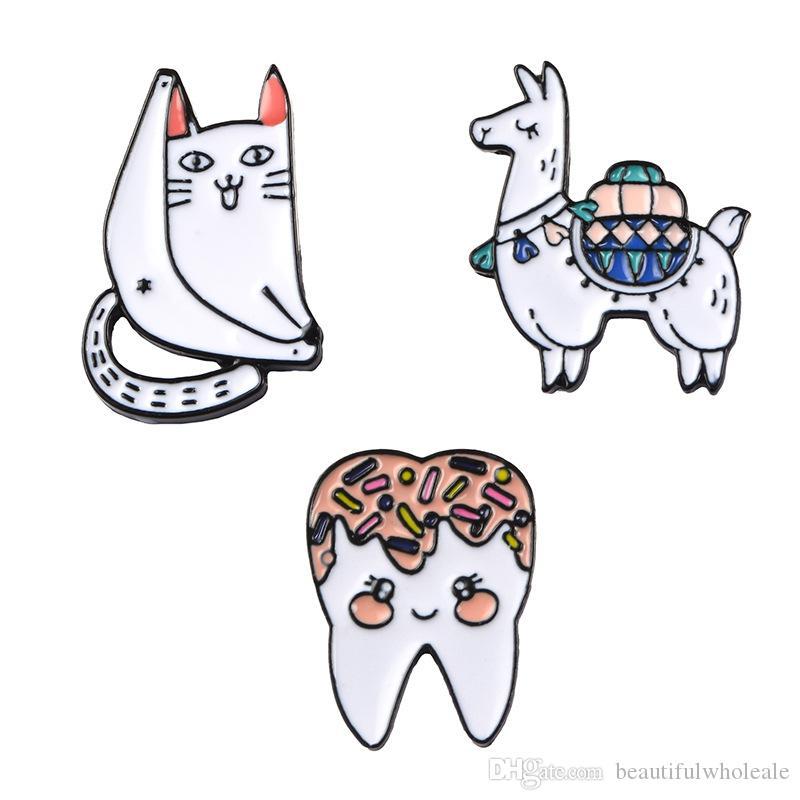 all'ingrosso dente di gatto carino spille e spille Regalo Cartoon Spilla Regalo Pin dente Spille Pins Gioielli Spille per Uomo Donna