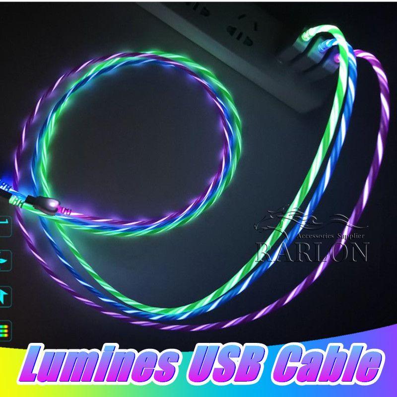 cables Escribir un nuevo cable USB Micro 1M los 3FT LED derecho C que fluye de luz LED Micro USB Data Sync cable cargador para Android Samsung LG Smartphone