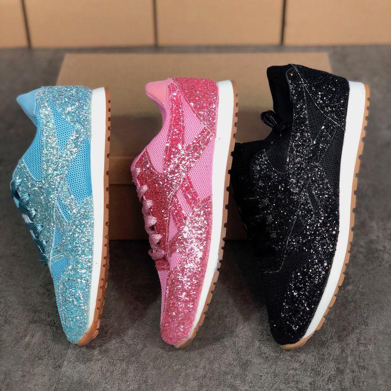 최신 여성 신발 고품질 실버 스프링 스 니 커 즈 세련된 스팽글 캐주얼 스포츠 신발 미끄럼 방지 고무 밑창 크기 35-43