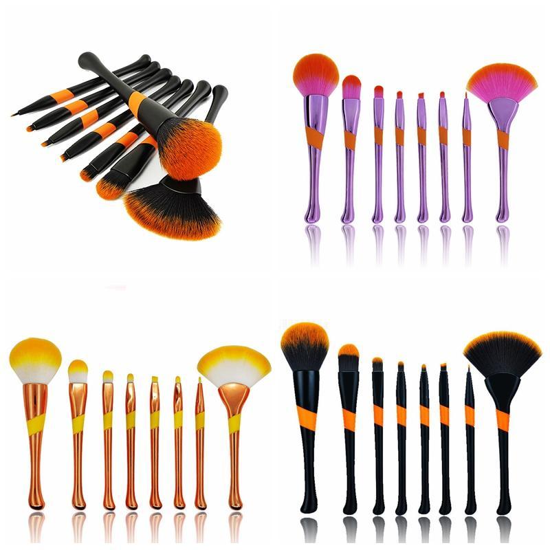 مجموعة فرش بايسبول للماكياج 8 قطع مع فرشاة على شكل مروحة على شكل بودرة ظلال العيون كحل فرش أدوات التجميل والجمال GGA2265