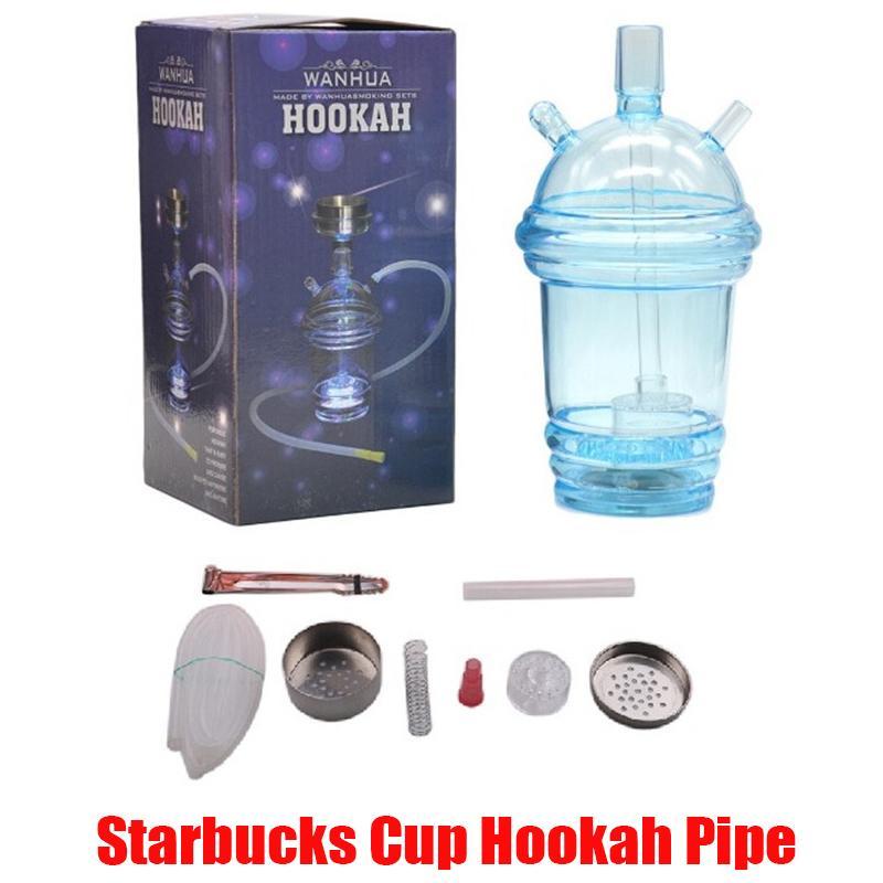 Starbucks tazza narghilè tubo incandescente vetro LED Bong acqua narghilè latte tazza di tè tazza dell'acqua tubo acrilico dabber con tubo da 80 cm in magazzino