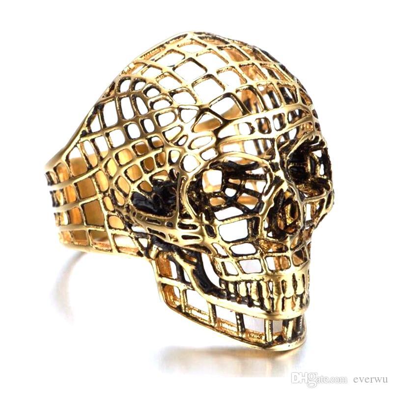 Anillo del cráneo del acero inoxidable punky hueco del estilo de regalo para hombre del motorista joyería de dedo gótico del cráneo de la vendimia joyería del anillo esqueleto