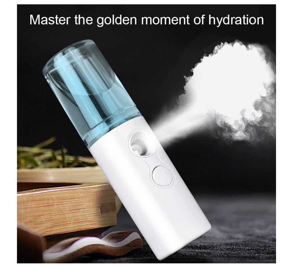 NEW Branco / Rosa spray Facial Steamer Portátil vapor face Umidificador de carregamento USB Mini Aroma Difusor Handheld Steaming Beauty Instrument